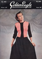 golden eagle 881 ladies knitting pattern for fair isle cardigan and skirt 1940s