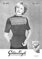 vintage golden eaglejumper knitting pattern with fair isle yoke 1930s
