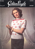 vintage ladies jumper knitting pattern for fair isle k=jumper from 1950s golden eagle 903