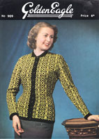 golden eagle 909 ladies fair isle fitted jacket from 1940s knitting pattern