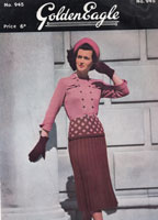 vintage ladies suit knitting pattern from golden eagle 945 from late 1940s