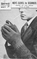 vintage mens glove knitting pattern 1940's bestway