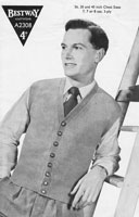 vintage bestwaywaistcoat knitting pattern 1940's