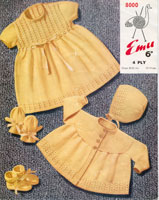 vintage baby knitting pattern dress and jacket set