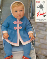 pram set vintage baby knitting pattern