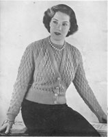 vintage ladies fancy twinset knitting pattern for fuller figure 1940s