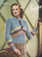 vintage ladies angora knitting pattern for jumper from 1930s