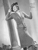 vintage ladies suit knitting pattern from 1930s patons 3271