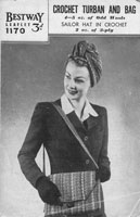 ladies turban and bag crochet pattern 1940s
