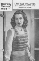 vintage ladies fair isle knitting pattern 1940