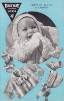 vintage baby matinee set with fair isle borders 1940s
