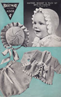 vintage baby bestway knitting pattern matinee set with frilled bonnet to match 1940s