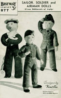 wartime knitted toy soldier sailor and airman pattern