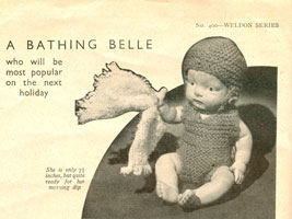 vintage bathing suit dolls knitting pattern