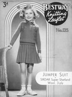 vintage girls jumper and skirt knitting pattern 1930s
