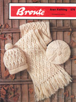 vintage scarf and hat and beret in aran knitting patterns
