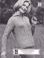 vintage knitting pattern for aran cardigan 1950s