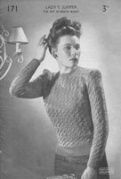 vintage ladies knitting pattern for ladies jumper 1940