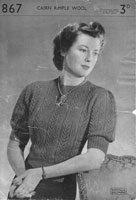 vintage ladies knitting pattern for ladies jumper 1940s