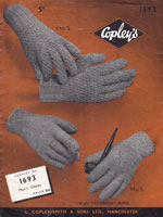 vintage glove knitting pattern for men 1940s