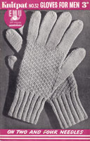 vintage glove knitting pattern mens 1940s