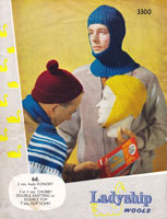 vintage mens knitting pattern hats 1960
