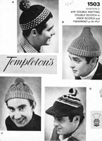 vintage mens knitting pattern hats 1950s