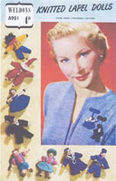 vintage knitting pattern tiny dolls broaches
