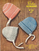 vintage knitting pattern baby bonnets