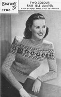 vintage fairisle knitting pattern for lady