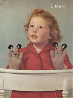 vintage knitting pattern for glove with monkey face