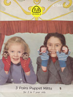 vintage knitting pattern for hand puppets