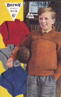 vintage boys sweater knitting pattern 1950s