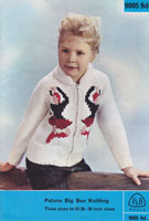 vintage highland dancers cardigan knitting pattern childs patons 1950s