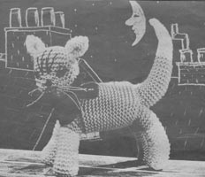 vintage toy knitting pattern for pussy cat