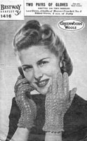 vintage knitting pattern for ladies gloves 1940s