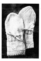 vintage baby knitting pattern for silk trimmed mittens 1920