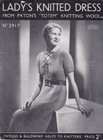 vintage 1930s knitting pattern for dress