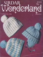 crochet pattern for baby hats vintage Sirdar