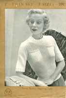 vintage short sleeved ladies jumper knitting pattern