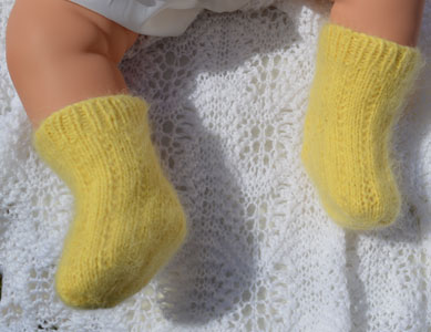 vintage angora hand knitted yellow socks