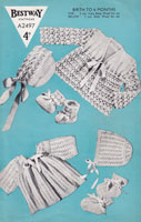 vintage baby knitting pattern for baby coat set matinee set 1940