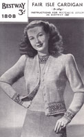 vintage ladies fair isle cardigan pattern from 1940s
