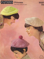 vintage knitting pattern for ladies hats 1960