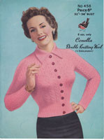 vintage 1950s cardigan knitting pattern for ladies