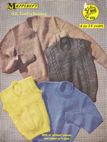 vintage girls and boys jumper knitting patterns 1050s