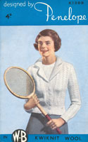 vintage ladies knitting pattern tennis cardigan
