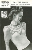 vintage ladies fair isle knitting pattern