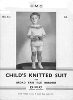 vintage fair isle knitting pattern child suit 1920s