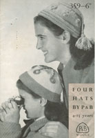 vintage knitting pattern girls hat